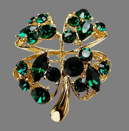 JC Joseph Cleary costume jewelry. Vintage Signed JC Joseph Cleary Four Leaf Clover Rhinestone Brooch Pin