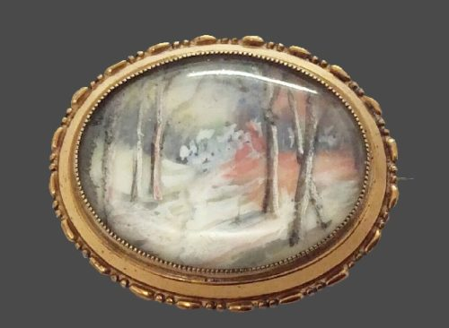 Winter landscape brooch