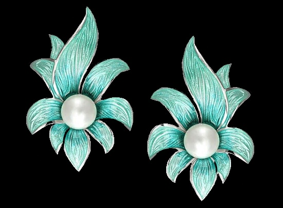 A pair of earrings. Hand enameled, sterling silver, fresh water pearls
