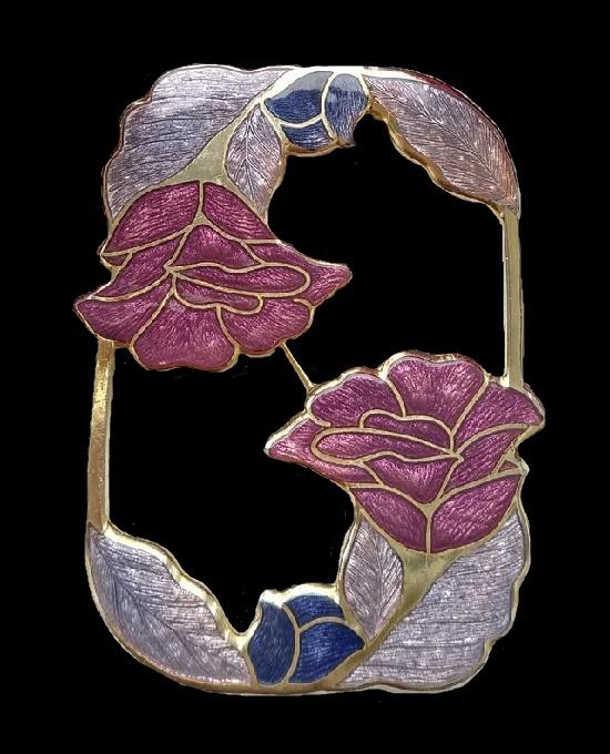 Art Nouveau brooch of gold tone, enamel cloisonne, 5,5 cm. 1970s