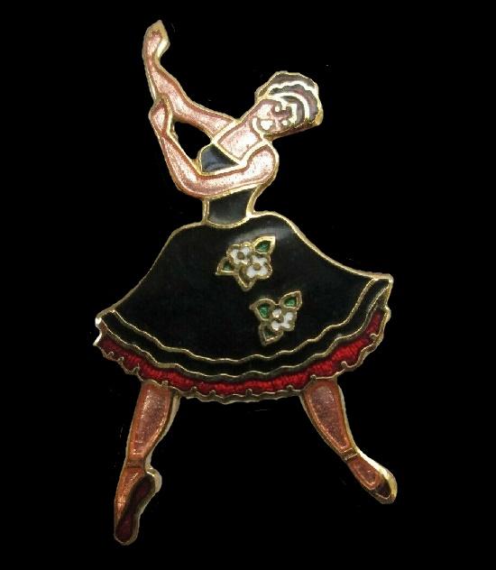 Ballerina Dancer Brooch Pin. Gold tone, enamel, signed F&C