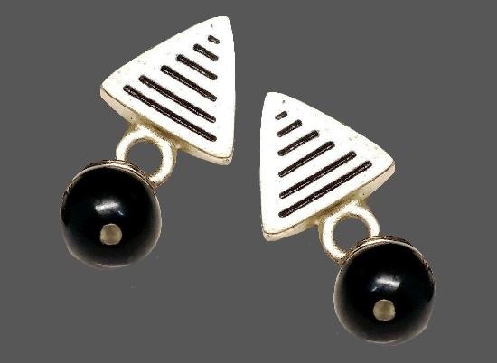 Black and Silver dangle drop earrings