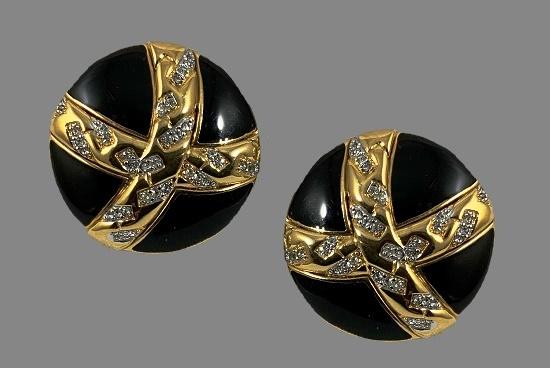 Black enamel, gold tone metal, rhinestone clip earrings