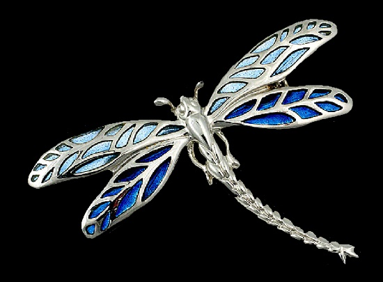 Blue dragonfly pendant and brooch. Plique-a-jour enamel, sterling silver, rhodium plated