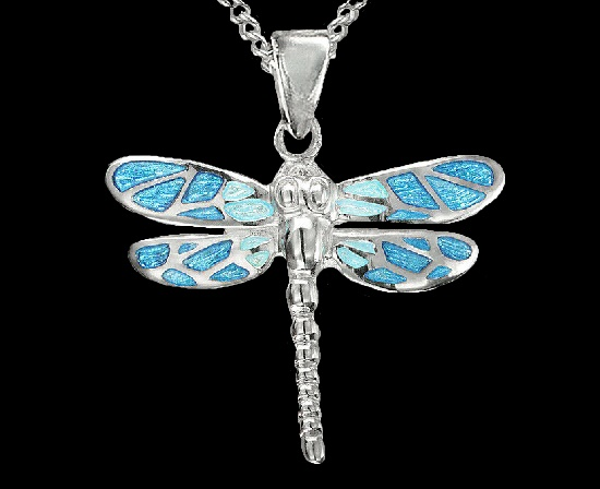 Blue dragonfly pendant. Plique-a-jour enamel, sterling silver, rhodium plated
