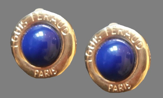 Blue lucite gold tone signed on the front earrings