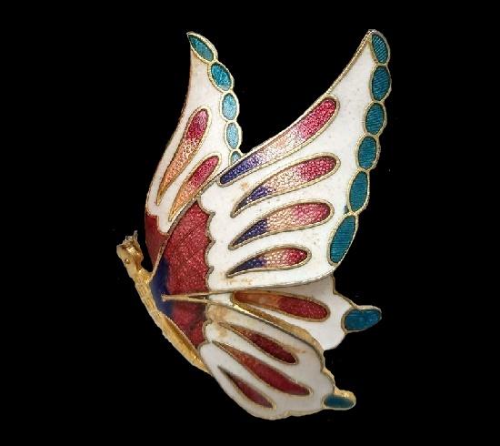 Butterfly brooch. 1970s. Gold tone metal, cloisone enamel, 4.8cm