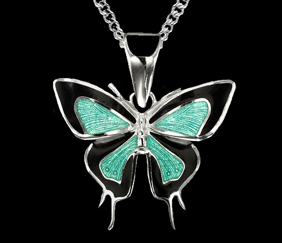 Butterfly pendant. Green and black enamel, sterling silver