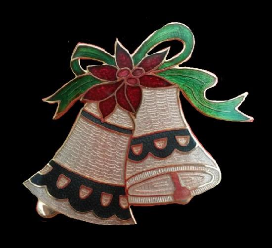Christmas bells brooch of gold tone, cloisonne enamel, 5 cm. 1970s