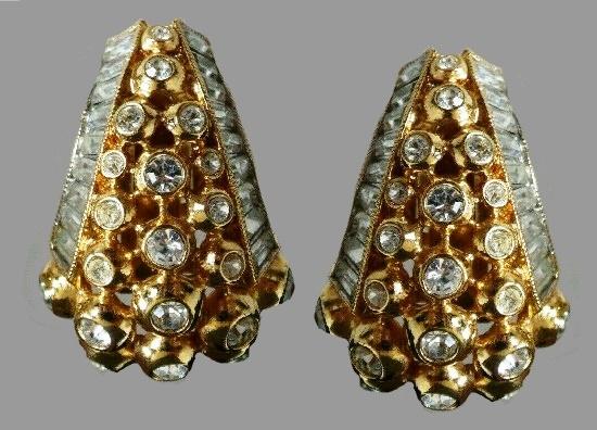 Clear Rhinestone Statement clip on earrings
