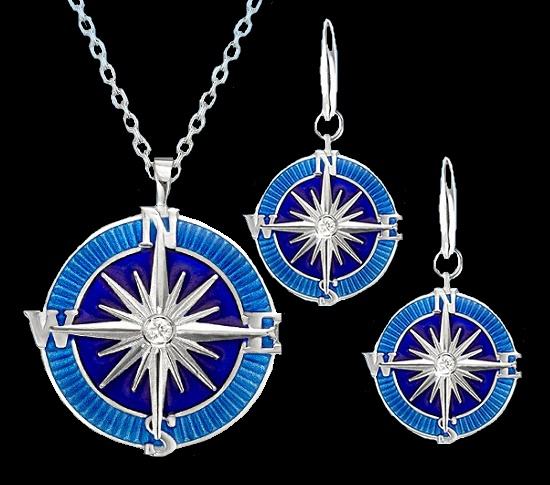 Compass Rose double-sided pendants, earrings and cufflinks