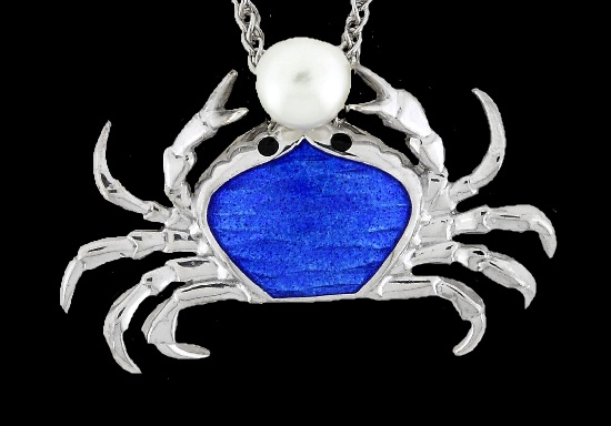 Crab Necklace. Blue enamel, sterling silver, pearl