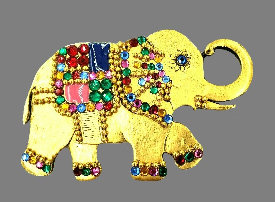 Elephant brooch. Gold tone metal, rhinestones, enamel accents
