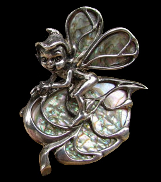 Elf on a leaf vintage brooch. Silver, abalone. 1960s