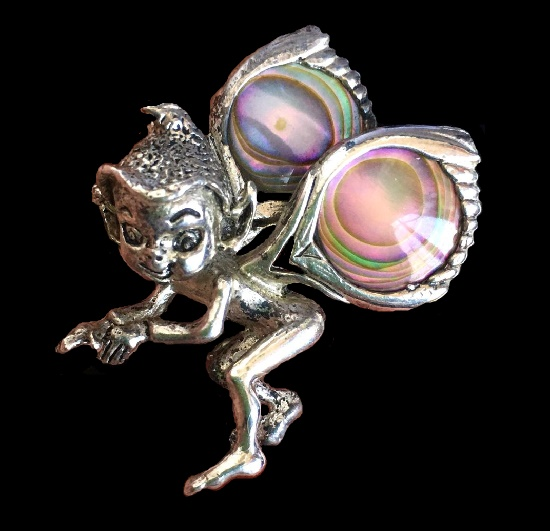 Elf vintage brooch. sterling silver, mother of pearl abalon. 5cm 1950s
