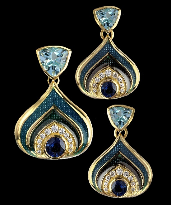 Exquisite set of earrings and pendant. 18 K Gold plated, sterling silver, turquoise enamel, blue topaz, blue sapphire, diamonds
