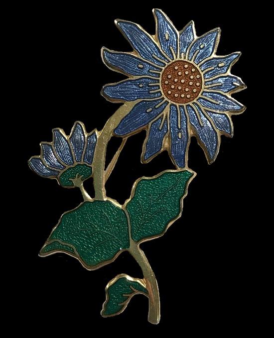 Flower brooch. Gold tone, green, blue, red enamel