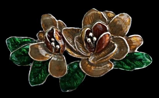 Flower brooch. Gold tone metal, enamel. 5 cm. 1970s