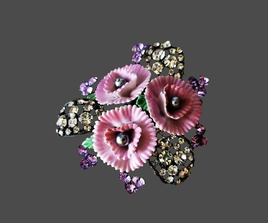 Flowers brooch. Metal alloy, ceramics, crystals. 11 cm. 1990s