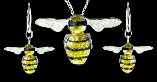 Flying Bee pendant and earrings. Sterling silver, yellow and black enamel