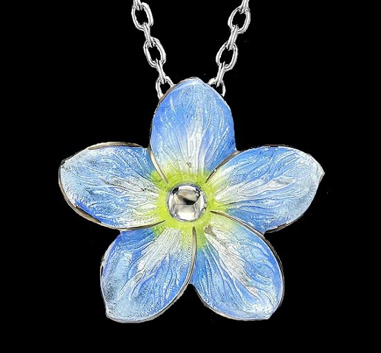 Forget-Me-Knot pendant. Sterling silver, dia,ond, blue and yellow enamel