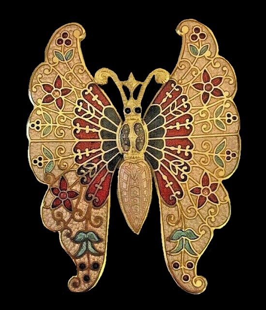 Gold and red butterfly brooch