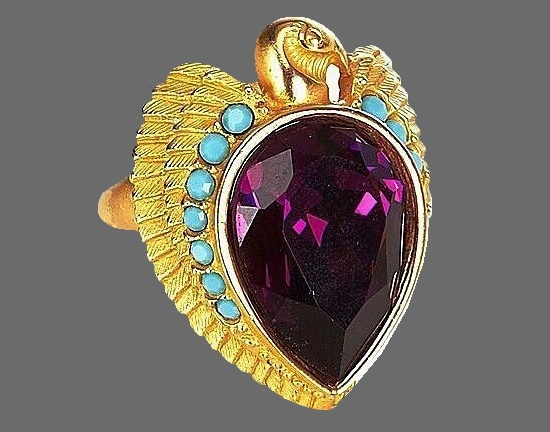 Gold ring from Egyptian Style Collection, 1993. 22K gold, faux amethyst