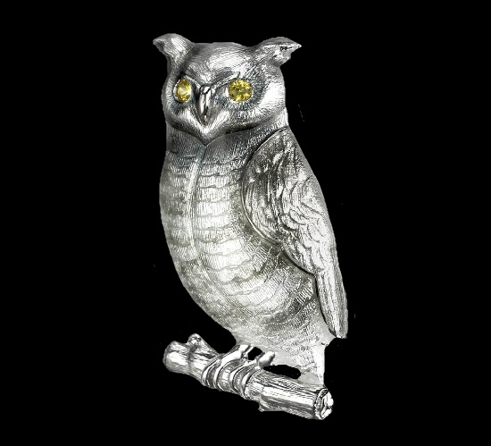 Gray Owl brooch. Sterling silver, yellow sapphires