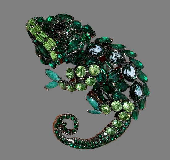 Green Chameleon rhinestones and crystals brooch