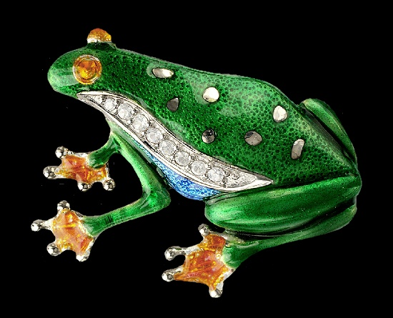 Green frog sterling silver brooch set with white sapphires, rhodium plated