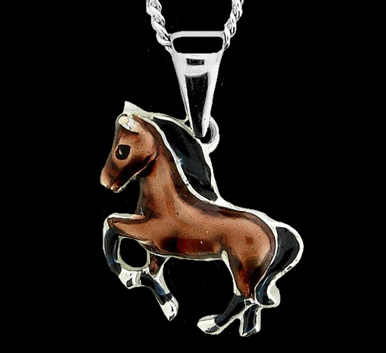 Horse necklace. Vitreous enamel on sterling silver, rhodium plated