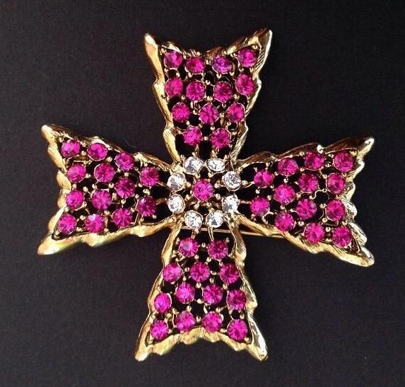 Maltese cross brooch. Gold tone metal, rhinestones