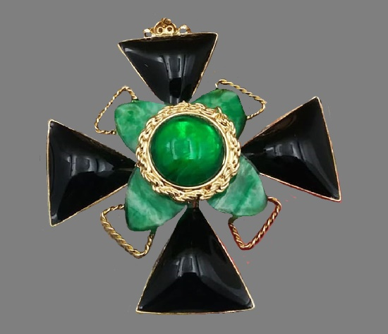 Maltese cross pendant. Gold plated, gripoix cabochons. 10 cm. 1990s