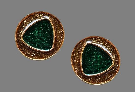 Glitter enamel gold tone clips. 3.5 cm. 1980s