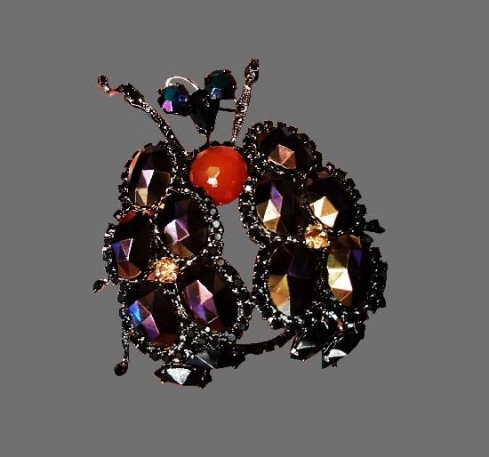 Beetle brooch. Plastic, metal alloy, Swarovski crystals. 10 cm. 1990s