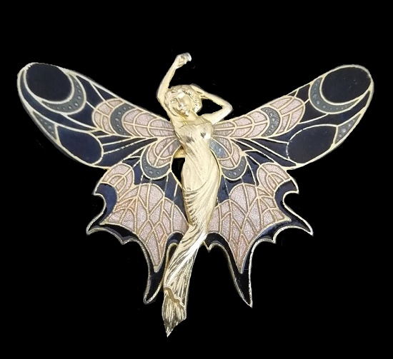 Mythical butterfly fairy brooch pin. 1980s vintage