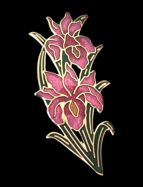 Orchid brooch of gold tone, cloisonne enamel, 5.5 cm. 1970s