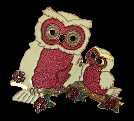 Owl family brooch