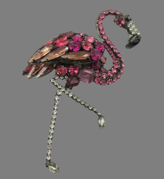 Pink flamingo brooch. Jewelry alloy, rhinestones, crystals