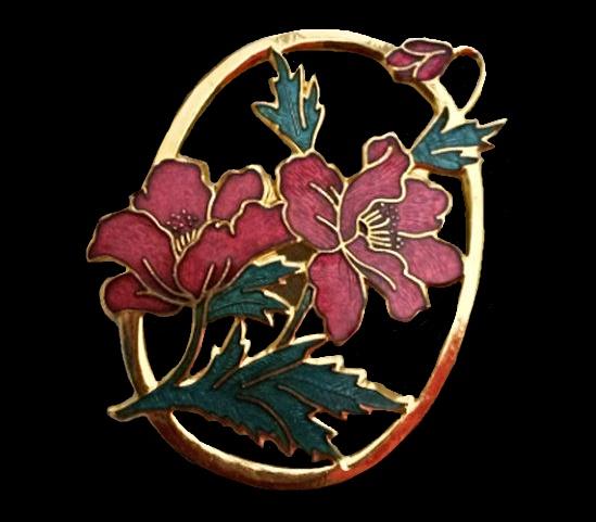 Poppy brooch. 1980s. Gold tone metal, cloisone enamel, 5,5 cm