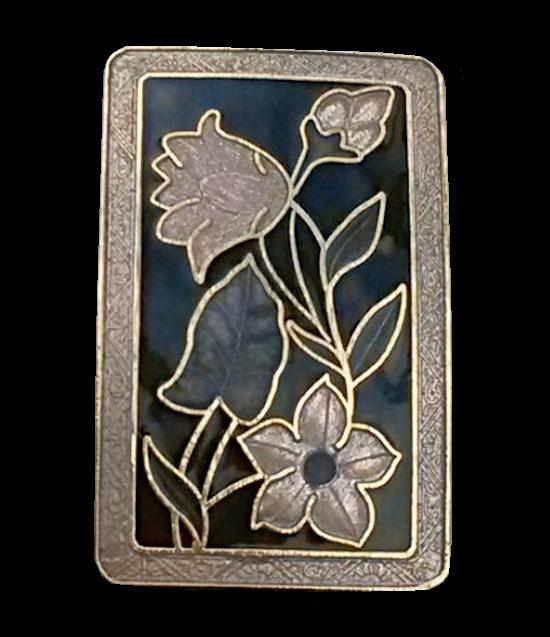 Rectangle brooch, gold tone metal, enamel. 4.5 cm, 1970s
