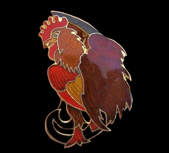 Rooster Brooch
