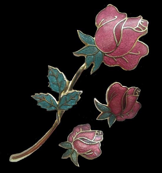 Rose flower brooch and earrings