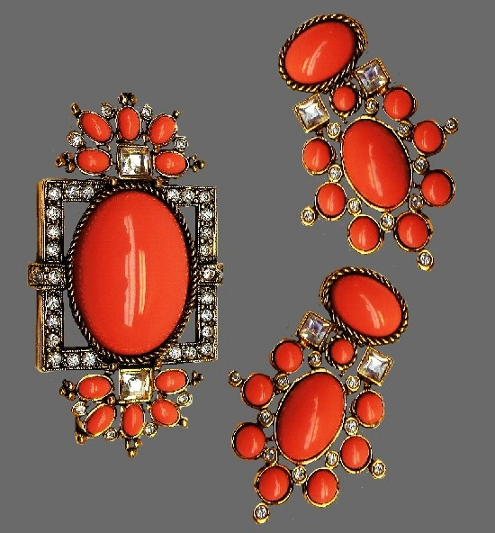 Sea Coral Collection brooch and earrings