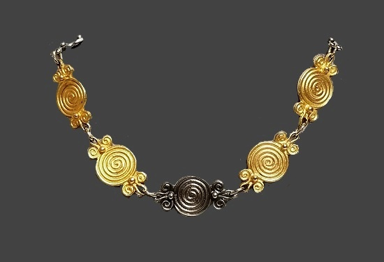 Silver and gold tone modernist cencentric circle link necklace