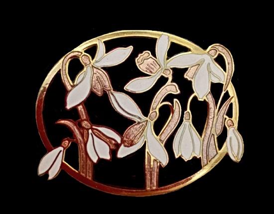 Snowdrops brooch. 1970s. Gold tone metal, cloisone enamel, 5 cm