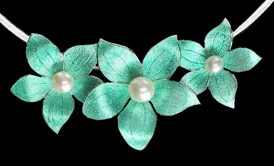 Stephanotis flower necklace. Hand enamelled in a beautiful aqua green tone, sterling silver, pearls