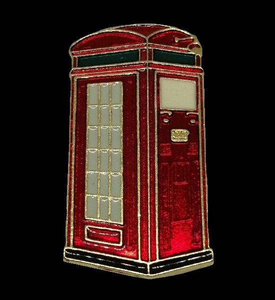 Traditional English red telephone box brooch