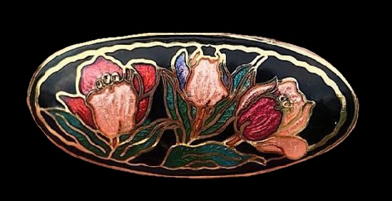 Tulips brooch of gold tone, cloisonne enamel, gilded brass. 4 cm. 1980s