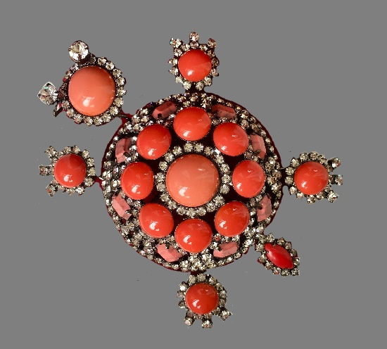 Turtle brooch. Faux coral, crystals. 11 cm. 1980s